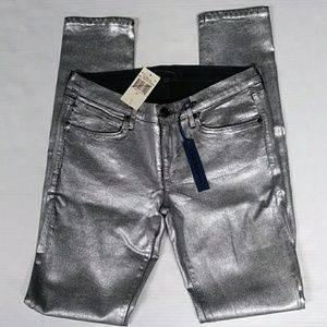 78 JUICY COUTURE 28 PANTS NEW SILVER FOIL SKINNY